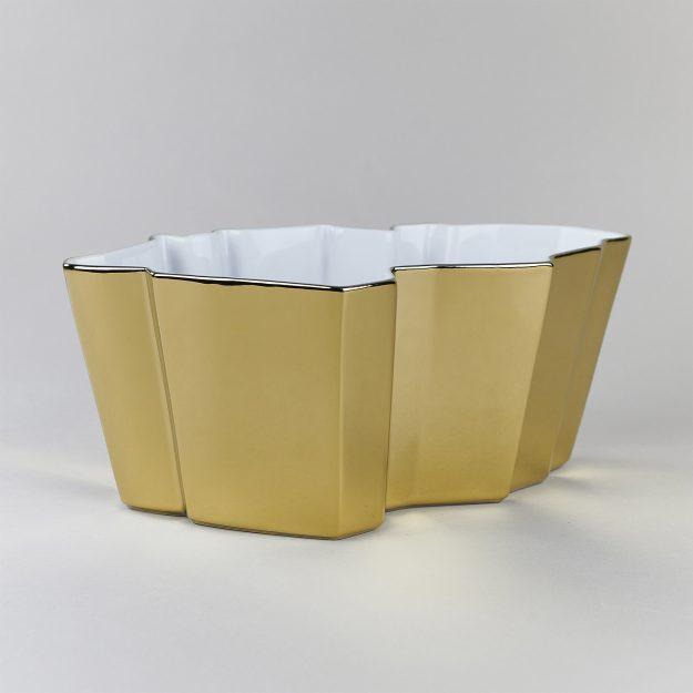 Gold porcelain bowls with grapes by Qubus design studio