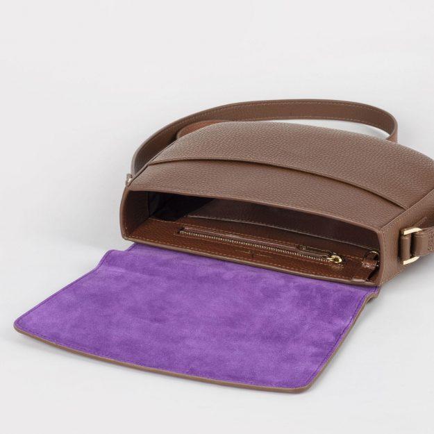 Brown Italian leather crossbody bag with rich purple suede leather inside handmade by Czech brand Verlein
