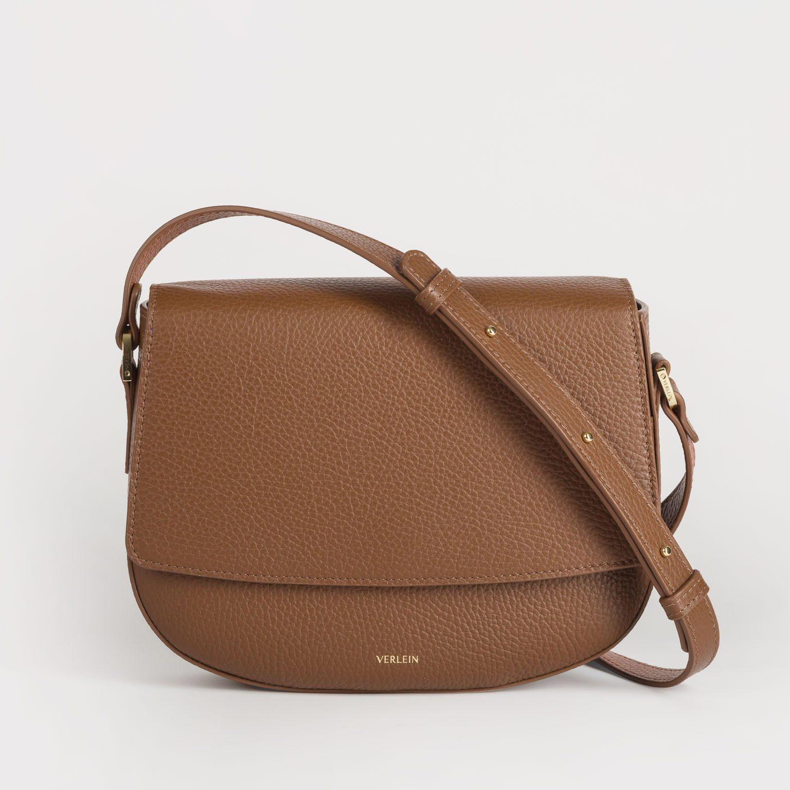 Brown Italian leather crossbody bag handmade by Czech brand Verlein