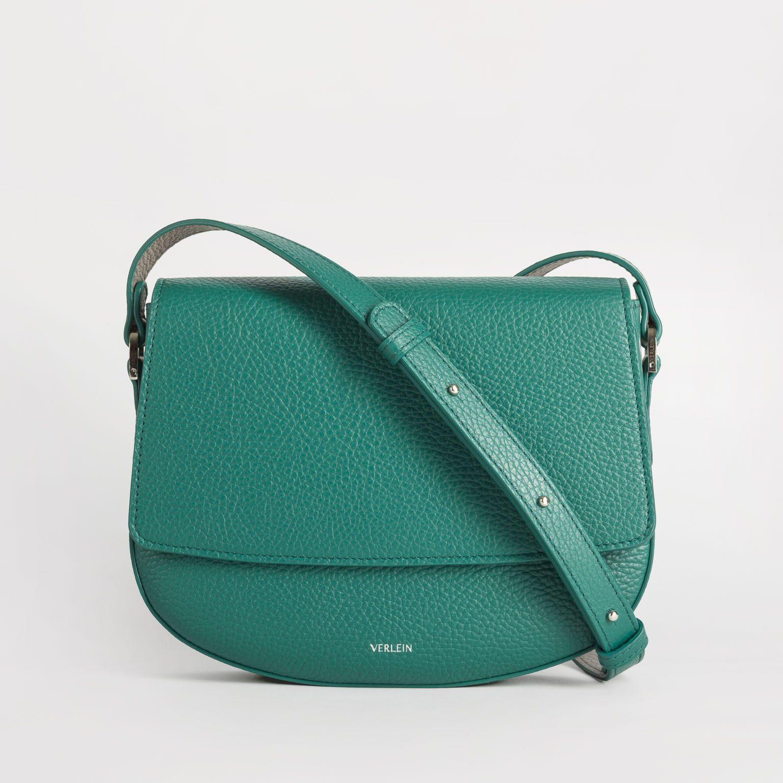 Emerald green Italian leather crossbody bag handmade by Czech brand Verlein
