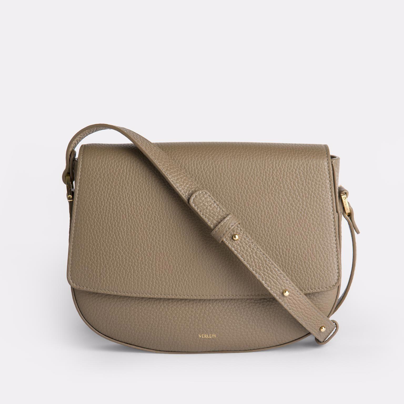 Taupe colour of Italian leather crossbody bag handmade by Czech brand Verlein