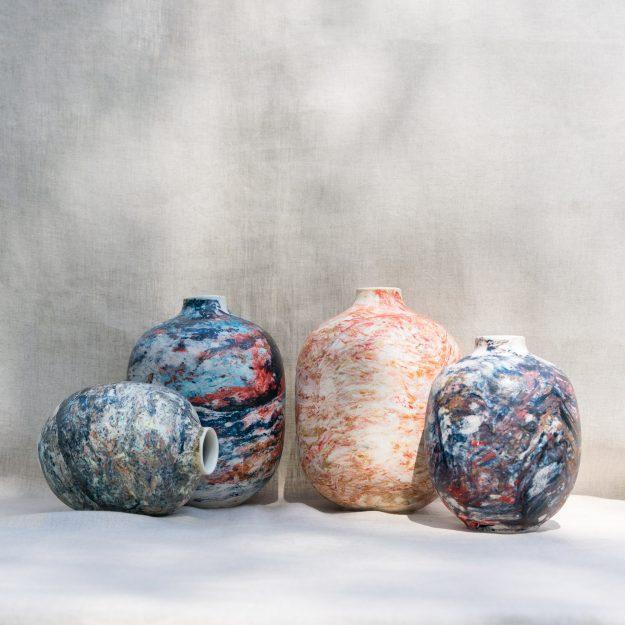 Set of marble vases by Veronika Svabenikova